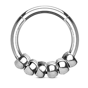 BodyJ4You 16G (1.2mm) Seamless Hinged Hoop Segment Ring Silvertone Beads Surgical Steel Septum
