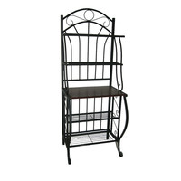 Black Metal 5-Tier Bakers Rack with Solid Wood Middle Shelf