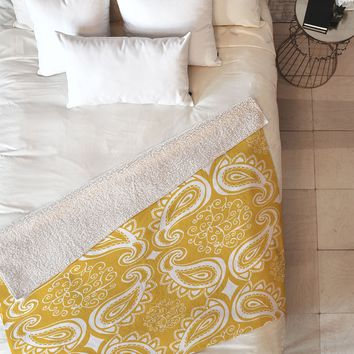 Heather Dutton Plush Paisley Goldenrod Fleece Throw Blanket
