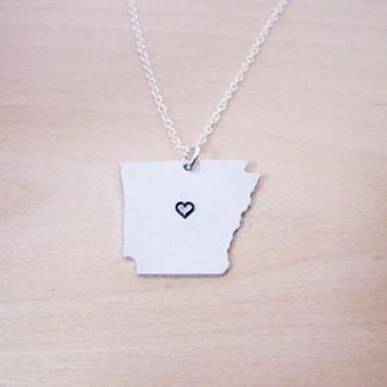 Hand Stamped Heart Arkansas State Sterling Silver Necklace / Gift for Her