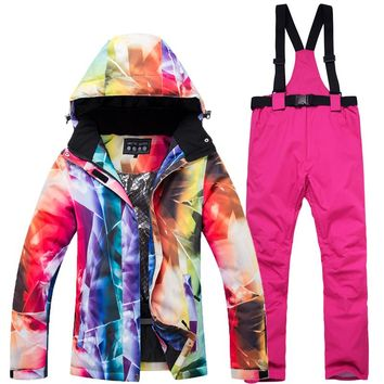 2019 New Cheaper Women Skiing clothing Snowboarding suit sets Waterproof Windproof Winter Mountain Snow Jackets + Bib pants
