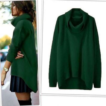 Women's Autumn winter Turtleneck Sweater Pullovers Fashion Irregular solid color Loose Long knitwear Bottoming Dress Plus Size