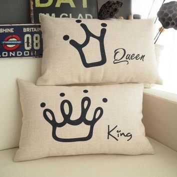 Cool Black Crown  Cushion Cover Home Decorative soft seat Linen The King The queen Classic Waist pillowcases  AlmohadaAT_93_12