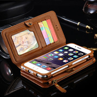 "Luxury i5 5S Leather Wallet Case for Apple iPhone 7 7 Plus 6 6S Plus 5.5"" Phone Bag Cover  for Apple iPhone7 6S Stand Card Slot"