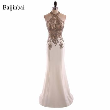 New Style Women Illusion Appliques Beading Satin Trumpet Long Prom Dresses Floor Length Halter Formal Party Dress Zipper Back580
