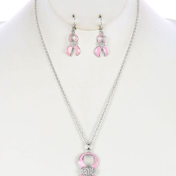 Breast Cancer Awareness Pink Ribbon Pendant Necklace Set