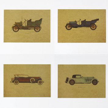 Hand drawing Vintage car set/Classic nostalgia/kraft paper/Cafe/bar poster/ Retro Poster/decoration painting 25x35.5cm