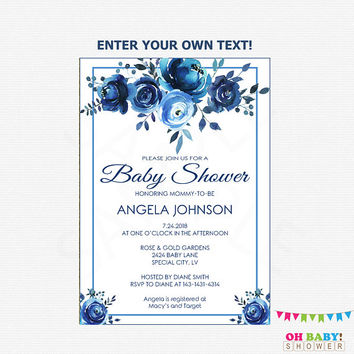 Floral Baby Shower Invitation, Watercolor Baby Shower Invitation, Baby Shower Invites Boy Girl Printable, Instant Download, Editable INDG