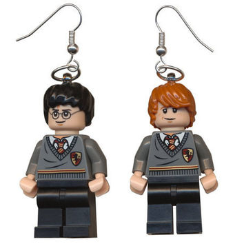 Harry Potter and Ron Weasley Lego earrings by cosmicfunpalace