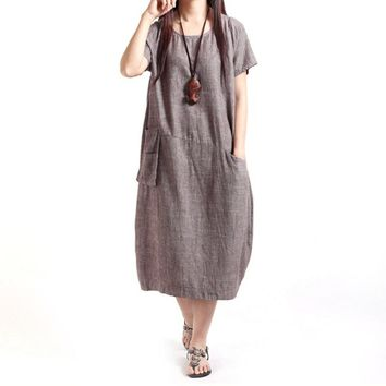 2017 Women Dresses Cotton Linen  Dress Fluid Casual Loose Sundress Sexy Solid