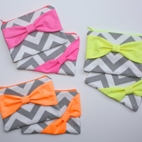 Neon Bachelorette Favors / Bridesmaid Gifts - Set of 8 Eight Cosmetic Cases - Gray Chevron with Fluorescent Orange, Yellow, or Pink Bows