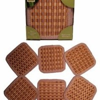 6 Piece Bamboo Woven Coaster Set, Woven Bamboo Slats. Bright Stripe, a Classy Addition to Your Table and Décor: Kitchen & Dining