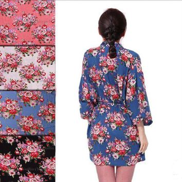 New Floral Robe For Women - Bridal Kimono Robe