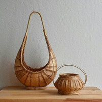 Set of 2 / Baskets with Handles / Boho Home Decoration / Succulent holders / Handwoven Baskets / reed baskets / storage / Hanging Plants