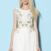 Orchid Embroidered Fairy Tulle Dress in White White