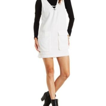 Off White Lush Lace-Up Flap Pocket Shift Dress by Charlotte Russe