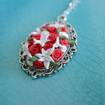 Roses and lilies necklace - polymer clay flowers - polymer pendant