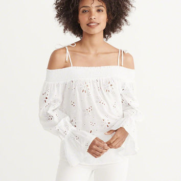 Womens Off-The-Shoulder Cutwork Peasant Top | Womens Tops | Abercrombie.com