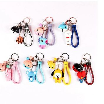 Kpophome for BT21 BTS V suga jimin  tata chimmy Cute Cartoon creative  cute Q version Harajuku style keychain pendant for bag