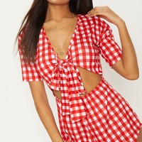 Red Gingham Short Sleeve Jersey Tie Front Playsuit