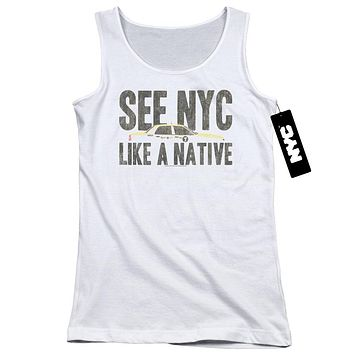 NYC Juniors Tank Top New York City Like A Native Taxi White Tanktop