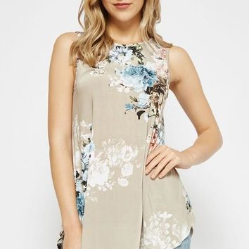 Burst into Bloom Floral Tank Top - Stone