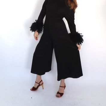 Vintage 1970s Glam Feather Jumpsuit One Piece Pantsuit Retro Black Jumper Pants Disco Romper Small Hipster Disco Motown Flare Palazoo Pant