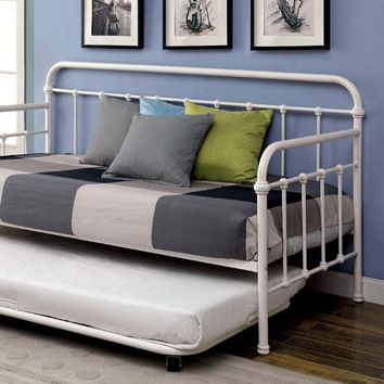 Claremont Vintage White Metal Trundle Bed