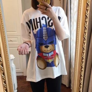 """Moschino"" Women Cartoon Letter Transformers Bear Pattern Print Short Sleeve Loose Middle Long Section T-shirt Top Tee"