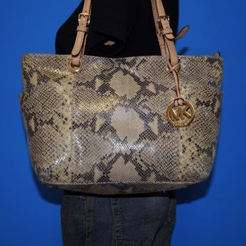 MICHAEL KORS Jet Set Gray Faux Python Leather Shoulder Tote Shopper Purse Bag