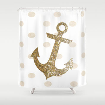 GLITTER ANCHOR IN GOLD WITH DOTS Shower Curtain by colorstudio