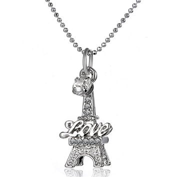 Eiffel Tower Clavicle Necklace engraved with Love Word  Women's Wedding Present Pendants
