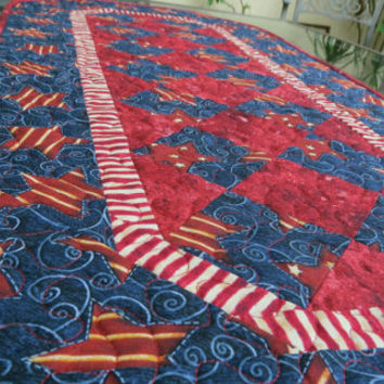 Quilted Table Runner Americana Patriotic 603 Stars & Stripe