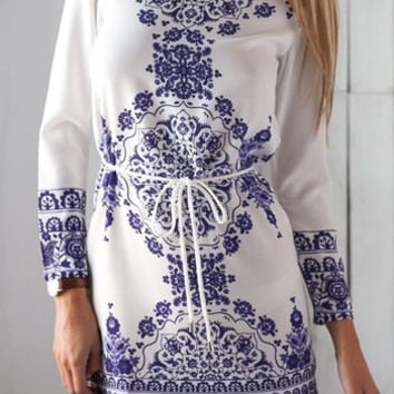 White Bohemian Print Long Sleeve High Low Dress