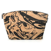 Large Makeup Bag, Cork Cosmetics Case, Zippered Toiletry Bag, Large Purse Organizer, Vegan Make Up Pouch, Zip Top Pouch, Marbled Pouch
