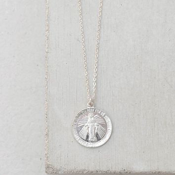 Virgin Mary Coin Necklace - Silver