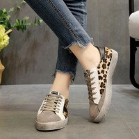 Moxxy 2018 Autumn New Fashion Brand Classic Leopard Lady Casual Shoes Women Canvas Sneaker Girl Leisure Shoe Lace Up Black