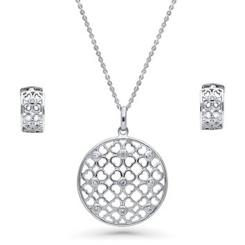 Sterling Silver CZ Clover Medallion Necklace and Earrings SetBe the first to write a reviewSKU# vs547-01