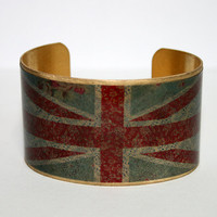 Brass Cuff, adjustable, Union Jack, vintage style. Free shipping