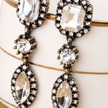 Triple Crown Crystal Crop Earrings