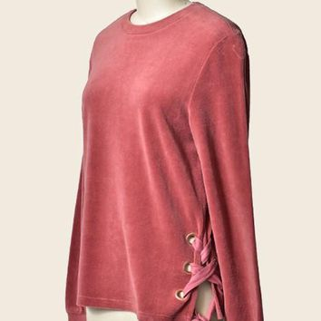 velour long sleeve top with lace up side