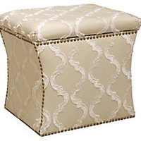 Hepburn Storage Ottoman, Cream/White