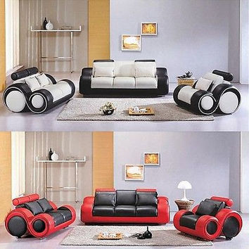 Modern White/Black Bonded Leather Sofa Couch Loveseat Furniture Set Living Room