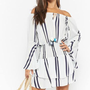 Surf Gypsy Striped Off-the-Shoulder Dress