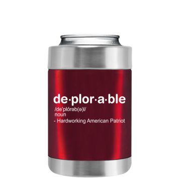 DEPLORABLE - Hardworking American on Translucent Red Can and Bottle Cooler