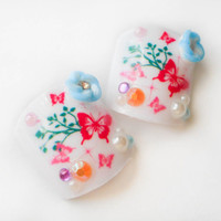 Butterfly Flower Garden Fake Toenails, Fake Nails, False Toenails, Butterflies, Flowers, Acrylic Nails, 3D Nail Art, Press on Nails, Toes