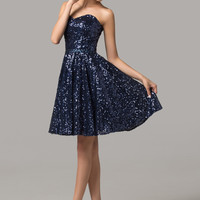 Navy Blue Sequined Strapless Homecoming Dress