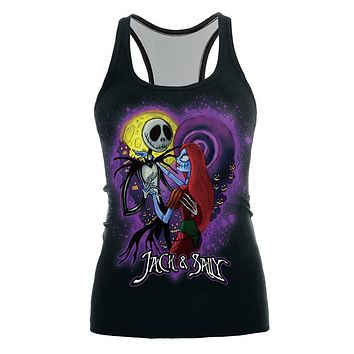 2017 New Women Tank top Halloween Corpse Bride Printed Slim Sleeveless Tops Gothic Punk Party Tee Shirts Vest Summer Feminino