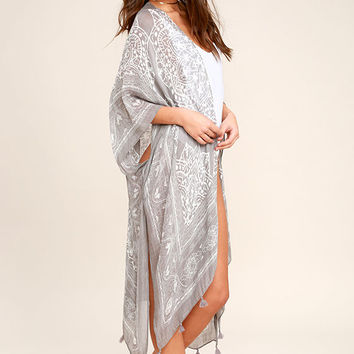 Sun Daze Grey Print Cover-Up