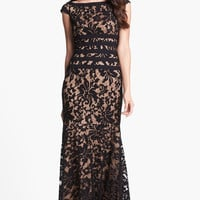 Lace and Mesh A-Line Maxi Dress
